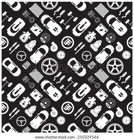 car part icons and Background - stock vector