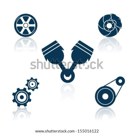 Car Part icons. Vector - stock vector