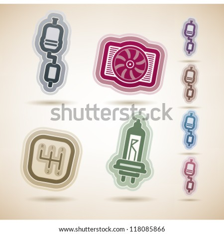 Car parts and accessories, from left to right:  Exhaust system, Cooler, Gear shift, Light bulb. - stock vector