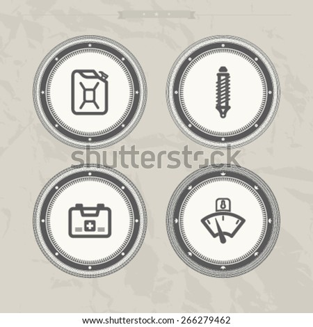 Car parts and accessories, from left to right -  Jerrycan, Shock absorber, First aid kit , Temperature indicator.   - stock vector