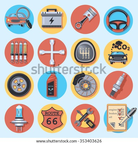 car parts and service - stock vector