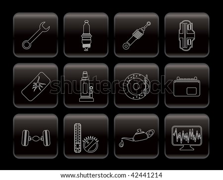 Car Parts and Services icons - Vector Icon Set 1 - stock vector