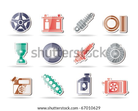 Car Parts and Services icons - Vector Icon Set 5 - stock vector