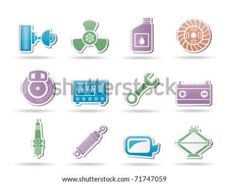 Car Parts and Services icons - Vector Icon Set - stock vector
