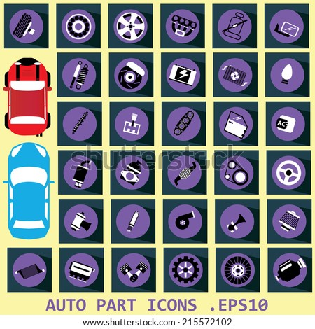 Car parts black and white icons on the purple circle. And long shadows on the dark squares.  - stock vector