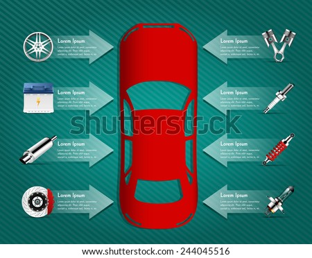 Car parts - car info graphic - stock vector