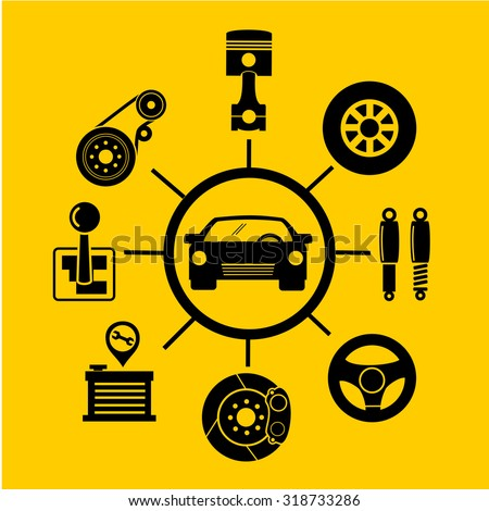 Car parts icons.vector - stock vector