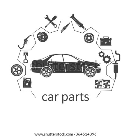 Car parts, set icons auto spare for repairs. Vector illustration. Concept car and spare parts. Can be used as a logo store for the sale of spare parts, web banner, print. Vector - stock vector