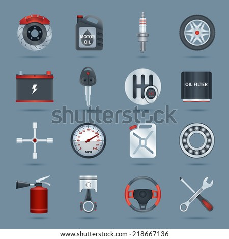 Car parts technology auto service icons set isolated vector illustration - stock vector