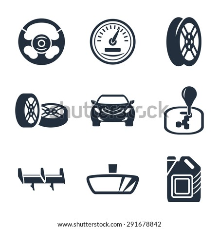 Car parts vector icon set - stock vector