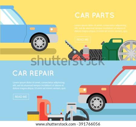 Car parts vector set. Car service vector icon set. Car parts shop banner. Car service. Tire service vector icon set. Repair car service - stock vector