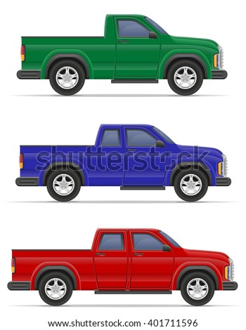 car pickup vector illustration isolated on white background - stock vector