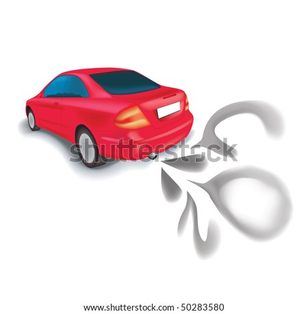 Car pollution - stock vector