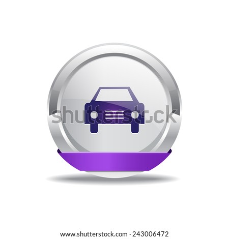 Car Purple Vector Icon Button