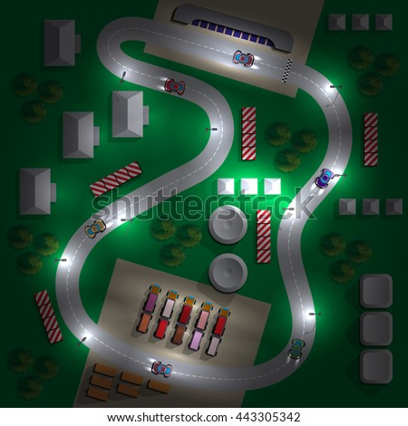 Car race. Night. View from above. Vector illustration.
