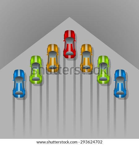 Car racing concept arrow shaped background with copy space. - stock vector