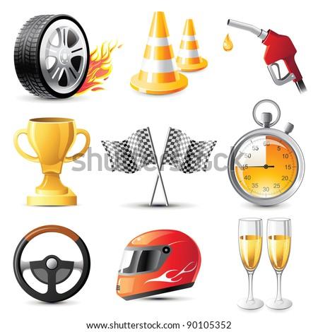 car racing vector icons set - stock vector