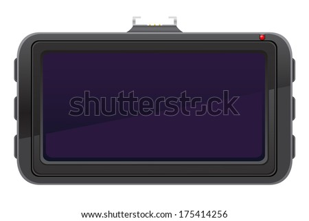 car recorder back view vector illustration isolated on white background - stock vector