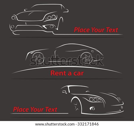 Car Rent Abstract Lines Vector Set. Vector illustration - stock vector