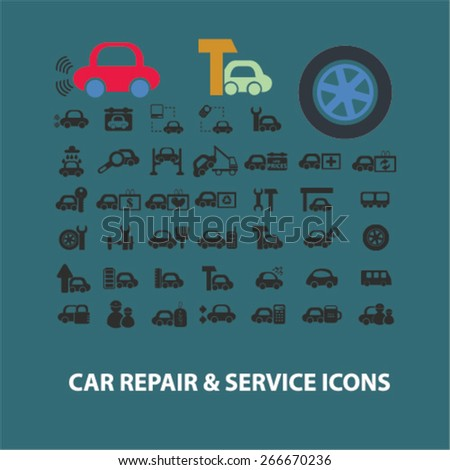 car repair, auto station services isolated icons, signs, illustrations concept website internet design set, vector - stock vector