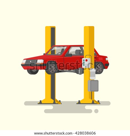 Car repair. Car lifted on autolifts. Vector illustration of a flat design - stock vector