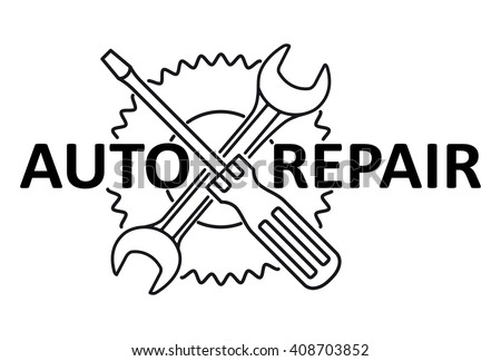Car repair design with crossed wrench and screwdriver on a gear. Black and white vector illustration. - stock vector