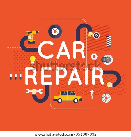 Car repair, hand carry out repairs. Flat design vector illustration. - stock vector