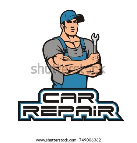 car repair logo auto mechanic wrench stock vector 749006362 rh shutterstock com mechanic logo clocks mechanic logos free