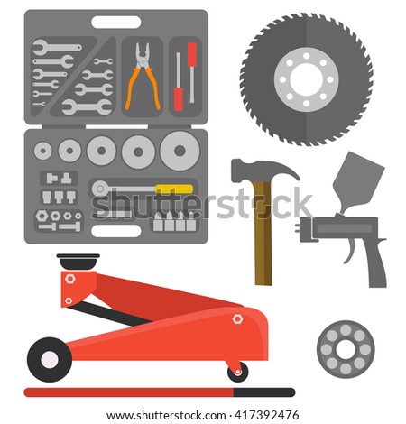 Car repair service concept with tuning diagnostics flat elements and worker man. Repair service illustration, Repair service image, Repair service concept,Repair service tools. - stock vector