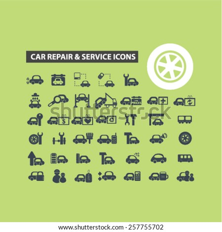 car repair services, auto station isolated icons, signs, illustrations concept design set on background for website, internet, template, application, advertising. - stock vector