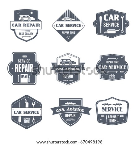 Car repair vector set of vintage template logo insignias old fashion style emblems