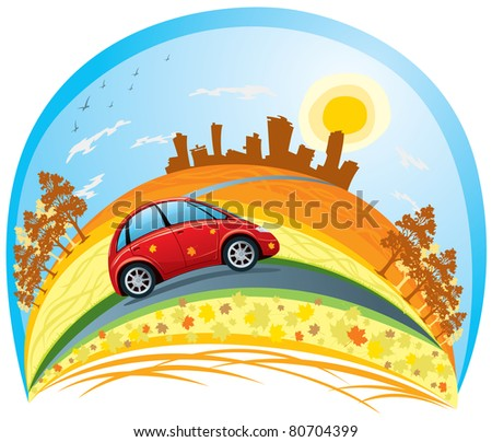 car riding across the autumn city - stock vector