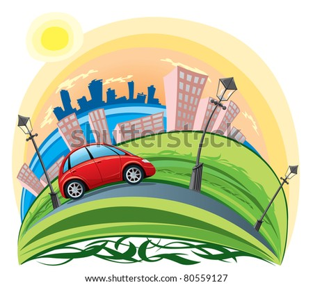 car riding across the city - stock vector