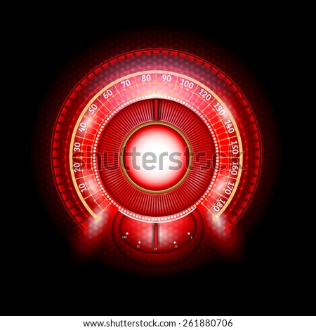 car round abstract red shiny speedometer with arrow indicators - stock vector