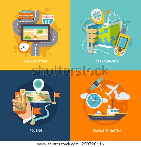 Car 60 Route map and GPS navigation system device 4 flat icons composition abstract isolated vector illustration - stock vector