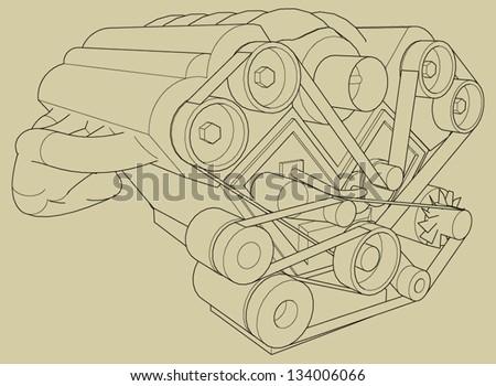 Car's engine vector. - stock vector