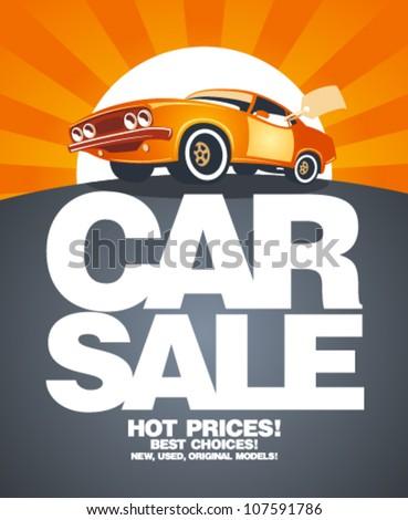Car sale design template with retro car. - stock vector