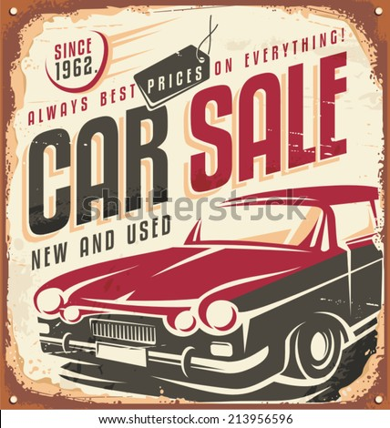 Car sale - promotional vintage design concept on rusty metal. Retro car poster design. - stock vector
