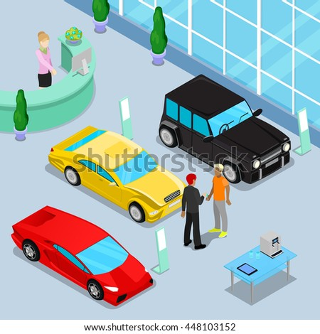 Car Sales Showroom Interior with Offroad Car and Sport Cars. Customer Buying a New Car. Isometric Transport. Vector illustration - stock vector