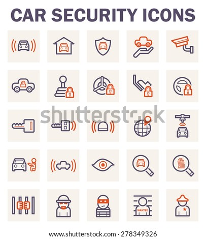 Car security icons. - stock vector