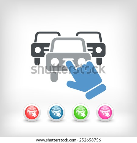 Car selection icon - stock vector