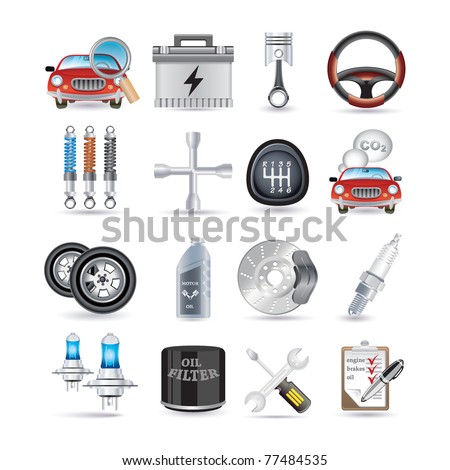 car service and parts - stock vector