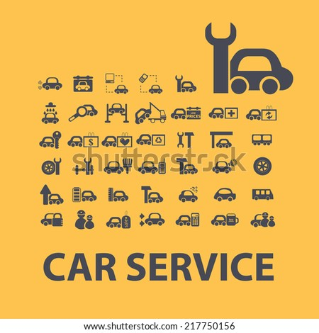 car service, auto, engineer icons, signs, illustrations, vectors, symbols set - stock vector