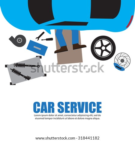 Car service,Auto mechanic,Car Mechanic Repairing Under Automobile In the garage - stock vector