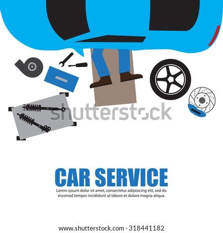 Car service,Auto mechanic,Car Mechanic Repairing Under Automobile In the garage - stock vector