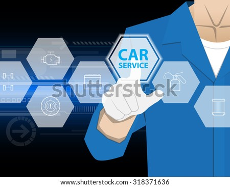 car service,Businessman working with modern virtual technology, hand touching pointing to accident report car, infographic - stock vector