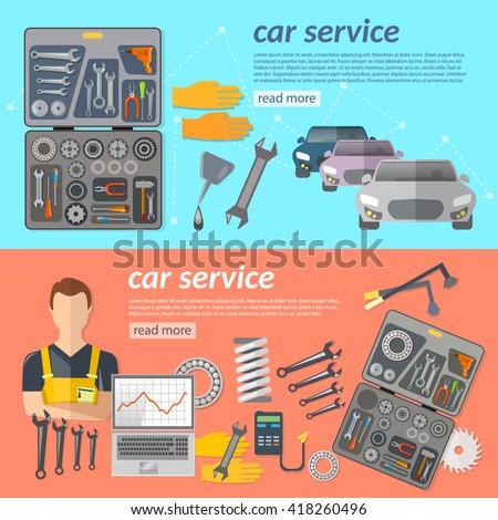 Car service car repair banner mechanic tool box car diagnostics vector illustration - stock vector