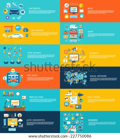 Car service car wash gas station auto diagnostics. Social media and network connection concept. On line store, news portal, work on task - stock vector