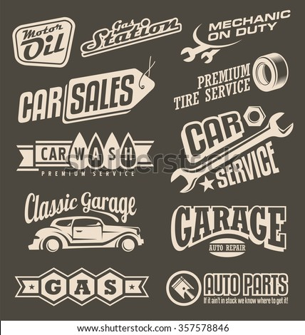 Car service emblems. Transportation label collection on dark background. Car service and garage retro banner set. On the road theme with auto related signs, logo designs layouts, symbols and icons. - stock vector