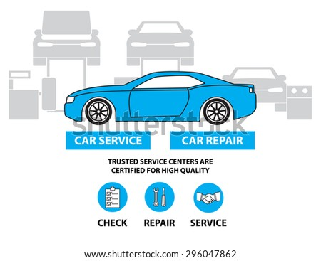 Car service,Flat designed banners for ui-ux design andweb design - stock vector